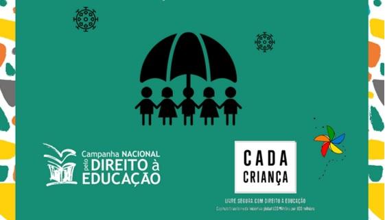 capa do guia covid traz ilustração de guarda-chuva com crianças abaixo